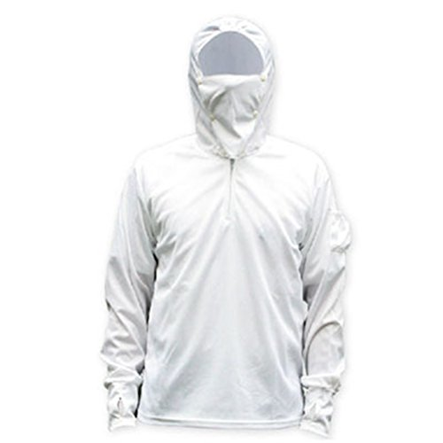 LANBAOSI Men's Insect Repellent Anti-UV Windproof Sweatshirt Face Mask Hooded Fishing Jacket White XL:BUST45
