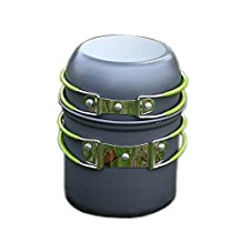 Portable cookware - SODIAL (R) Portable Outdoor Cooking Set Anodized aluminum Non-Stick Pot Bowl cookware camping picnic hiking utensils for one person