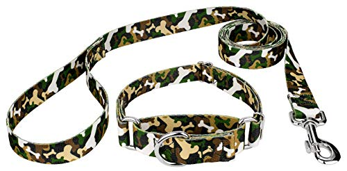Country Brook Petz Woodland Bone Camo Martingale Dog Collar & Leash - Medium ()
