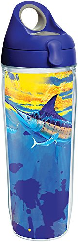 Tervis 1286903 Guy Harvey - Mirage Marlin Tumbler with Wrap and Blue with Gray Lid 24oz Water Bottle, Clear