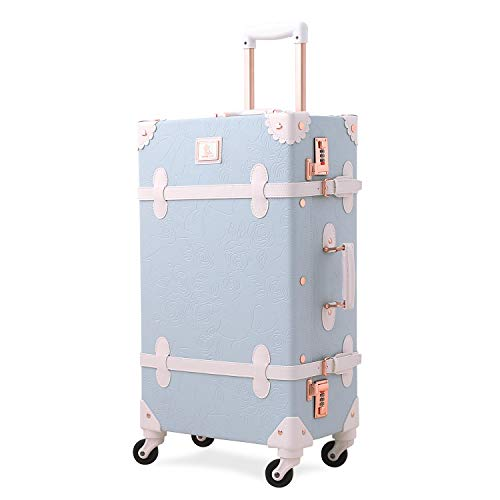 - Unitravel Vintage Suitcase Retro PU Trunk Rolling Spinner Lightweight Luggage