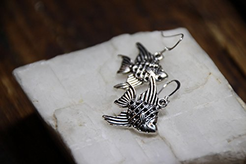 Fish Earrings Angel Ocean Life Sea 925 Sterling Silver Hooks Pewter Charms