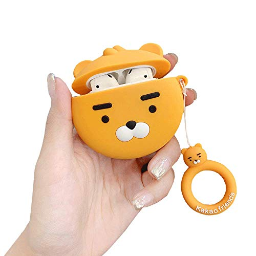 - ICI-Rencontrer 3D Cute White Bearded Yellow Bear Cartoon Animals Airpods Case Soft Silicone Wireless Headset Waterproof Protective Accessories With Hang Decoration For Kids Girls Women