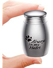 Small Decorative Memorial Cremation Keepsake Urns for Human Pet Ashes Mini Cremation Urn for Ashes Waterproof Stainless Steel Ashes Holder-Always in My Heart(S7-Style3/Silver-L)
