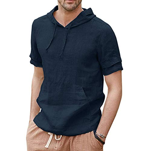 Stoota Mens Linen Shirts,Pullover Hoodie Lightweight Short Sleeve T-Shirt-Blouse Navy]()