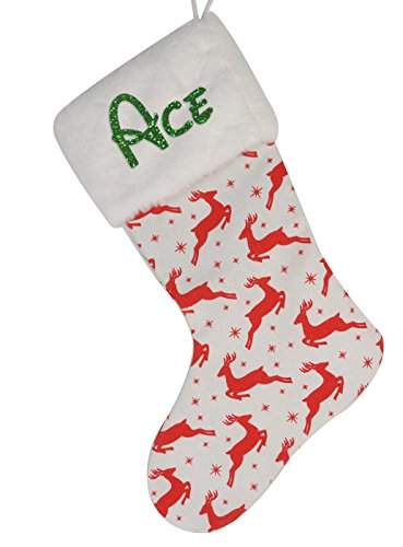 Aoloshow Ace Personalized Family Christmas Stockings Burlap 1pcs Name Gift Kids Fireplace Decor ()