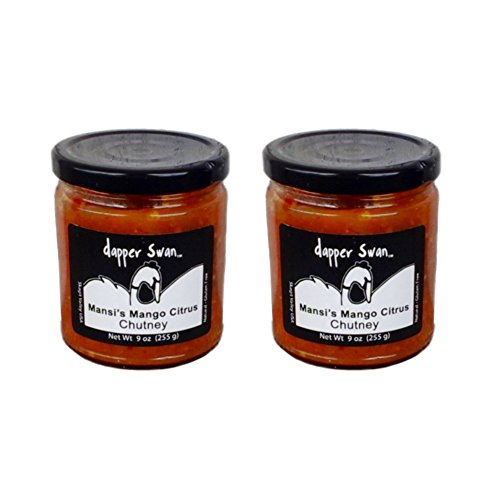 Mango Artisan Gourmet Chutney, Two 9-oz Jars - All Natural, GF, Vegan, No Fat, Made in USA by Dapper Swan