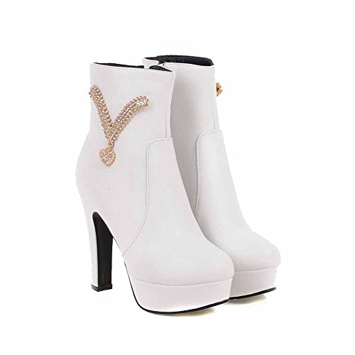 Low Women's AgooLar Round with High Heels Metal Top Zipper Toe Closed White Boots f5dAdxBwWq