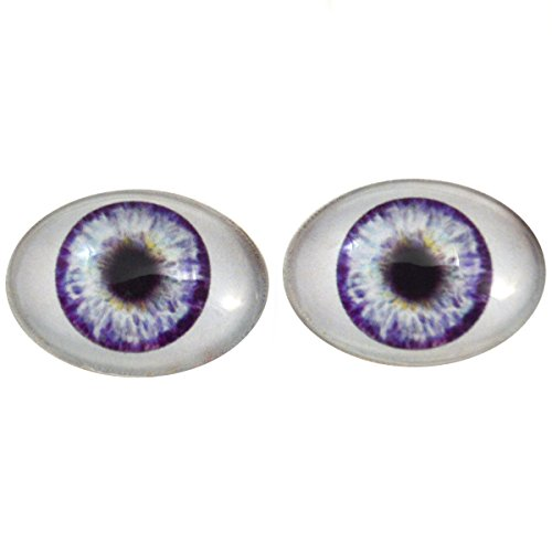 Glass Eyes Oval (Megan's Beaded Designs Purple Doll Oval Glass Eyes Fantasy Taxidermy Art Doll Making or Jewelry Crafts Set of 2 (30mm x 40mm))