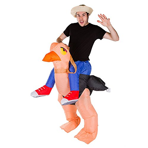 [Inflatable Bird Rider Costume Halloween Party Fancy Dress Funny Orange Ostrich Inflatable Suit] (Inflatable Bull Rider Halloween Costume)