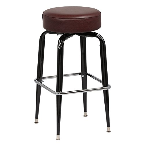 (Royal Industries Backless Square Black Frame Brown Vinyl Bar Stool With Single Chrome Ring)