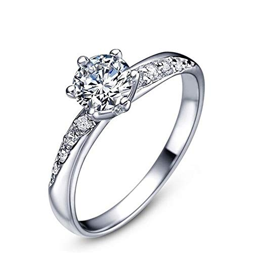Souarts Classic Jewelry Platinum Plating Shiny Imitation Crystal Rings for Women Size 8-22 ()