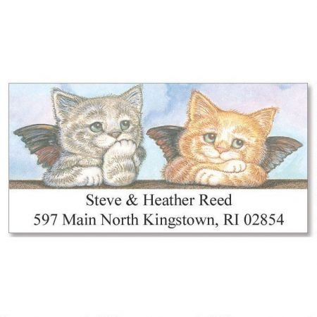 Kitten Address Labels - Personalized Kitten Angels Christmas Address Labels - Set of 144 Self-Adhesive, Flat-Sheet holiday labels