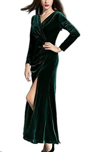 Manga larga Surplice Vevelt de la mujer raja Maxi vestido de noche Green
