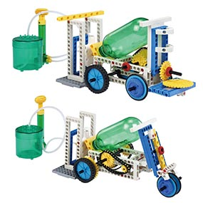 Build 15 air and water powered models including a lift and a heavy motor bike