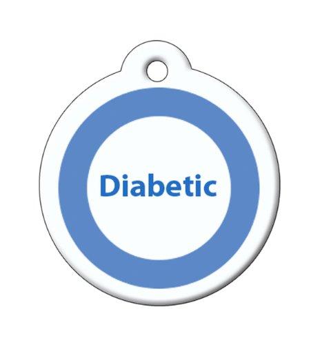 BARKCODE Medical Line Diabetis QR Code Pet ID Tag, Large, White and Blue Circle