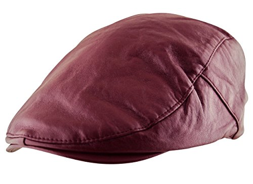 Itzu Men's Flat Cap Plain Faux Leather Hat Pre Curved Lined Vintage Gatsby Golf Newsboy in Purple