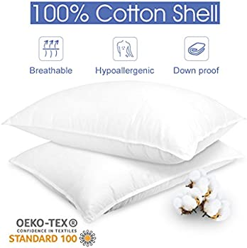 Langria 2 Pk Down Alternative 100% Cotton Bed Pillows (White)
