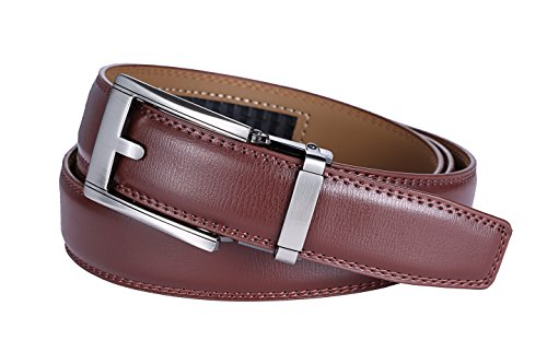 Marino Ratchet Click Belt for Men, Designer Mesn's Leather Dress Belt with Open Automatic Buckle, Enclosed in an Elegant Gift Box - Brown Style 20 - Custom: Up to 44