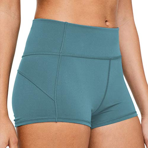 (Womens Athletic Shorts Hessimy High Waist Women Yoga Shorts Tummy Control Stretch Workout Running Shorts Green)