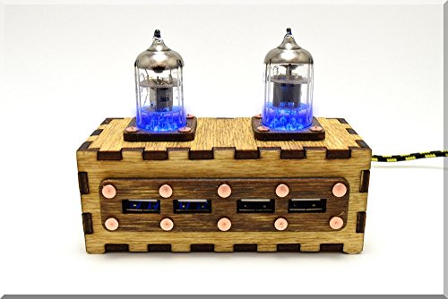 Price comparison product image Handmade Wooden BLUE Double Pentode Radio Tubes 4 ports USB 2.0 HUB with vintage Ussr quality sign. Industrial/Fallout style