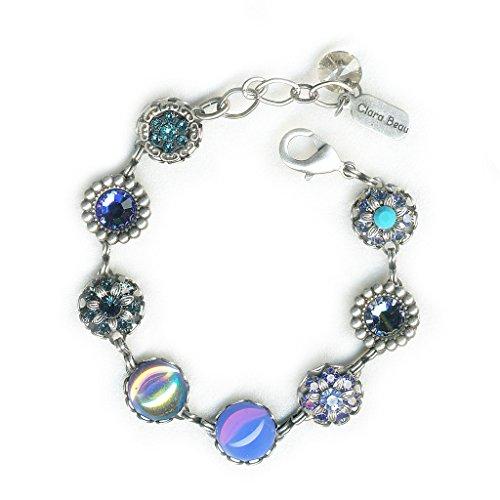 (Clara Beau Elegant Deep Multicolor BlueOpal Swarovski crystal SilverTone Filigree Cluster Bracelet BF157)