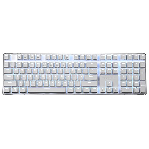 Qisan Mechanical Keyboard Gaming Keyboard Brown Switch 100% Full Size 108 Keys GATERON Switch with White Backlight Case White Magicforce