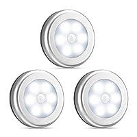 Motion Sensor Light, Hirosa 3Pack Cordless Battery Powered LED Night Light, Stick-Anywhere Closet Lights, Stair Lights, Puck Lights, Safe Lights for Hallway, Bathroom, Bedroom, Kitchen, etc.(White)