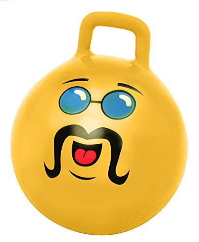 WALIKI TOYS Adult Size Hopper Ball (Hippity Hop Ball Hopping Ball Hoppity Hop Ball Bouncy Ball with Handles Jumping Ball Yellow Pump Included) LIKE A BOSS -