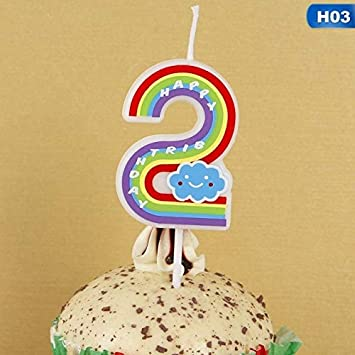 Maslin Happy Birthday Candle Cake Cupcake Topper Cartoon Rainbow Number Candles Decoration Wedding Anniversary Party
