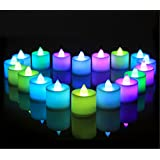 24 Pack LED Tea lights Candles - Flickering Flameless 7 Color Changing Tealight Candle - Battery Operated Electronic Fake Candles - Decoration for Wedding, Party and Festival Celebration (Multi-color)