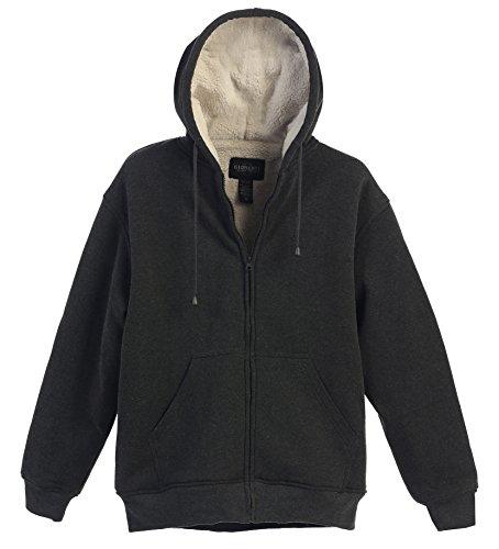 Gioberti Mens Sherpa Lined Pull Zip Fleece Hoodie Jacket, Heather Charcoal, X Large