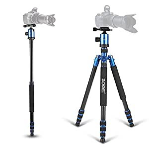 """ZOMEI 65"""" Professional Compact Magnesium Aluminium Sturdy Camera Tripod Monopod with Quick Release Plate Tripod Mount Ball Head and Bubble Level for Canon Nikon Sony DSLR and Camcorders (Blue)"""