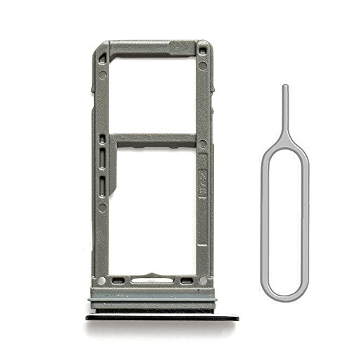 Slot Replacement with Gasket for Samsung Galaxy S8 G950 and S8 Plus G955 (Black) with Sim Card Tray Open Eject Pin ()