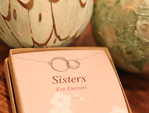 Sterling Silver Sisters Necklace, Infinity Joined Two Interlocking Double Circles on Card Gift For Sister