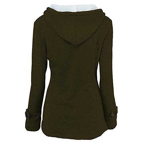 Tasche Donna Con Especial Invernali Cerniera Monocromo Estilo Lunga Calda 88 Grün Manica Giacca Modern Giaccone Stile Coat Bobo Outwear Cappuccio Anteriori 0xIXwZ