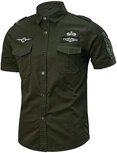 IYFBXl Camisa de algodón de Talla Grande Militar para Hombre - Cuello Redondo clásico de Color sólido/Manga Corta, Verde Militar, XXXL: Amazon.es: Deportes y aire libre