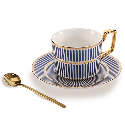 ALODZ 7 OZ Vertical Stripes Bone China Ceramic Tea Cup Coffee Cup with Saucer and Spoon, Blue