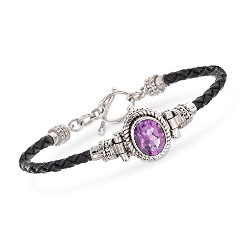 Ross-Simons 2.50 Carat Amethyst and Black Leather Toggle Bracelet in Sterling Silver -