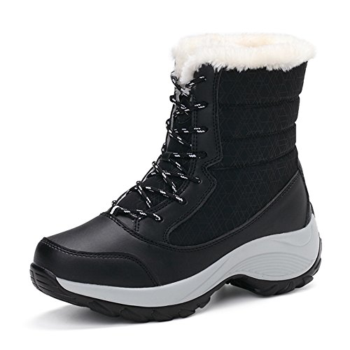 TRUPO Women Winter Warm Outdoor Waterproof Lace Up Snow Boots Black 38