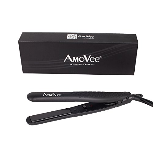 AmoVee Mini Flat Iron Smart Ceramic Tourmaline Hair Straightener Negative Ionic Technology For Travel