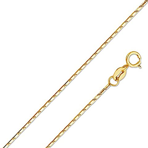 14k Yellow Gold Solid 1mm Snail Link Chain Necklace 16