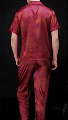 Cromoncent Men's Silk Satin Solid Short Sleeve 2 Piece Nightwear Pajama Set 4 L by Cromoncent (Image #1)