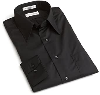 Van Heusen Men's Long Sleeve Wrinkle Free Poplin Solid Shirt, Black, 15.5 - 36/37