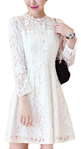 Randello Modo Lunga Dal Bianco Delle Manica Merletto Di Crochet Del Vestito Jaycargogo Donne qEACnwRfC