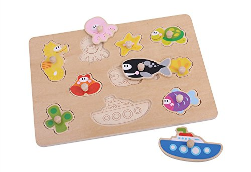 TookyToy Sea Animals Wooden Knob Puzzle for Toddlers - Simpl