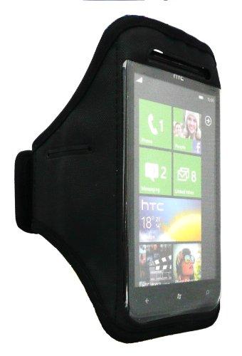 Emartbuy ® Black Soft Velvet Finish Sports Armband (Größe 3Xl) Mit Klettverschluss Geeignet Für Htc Titan