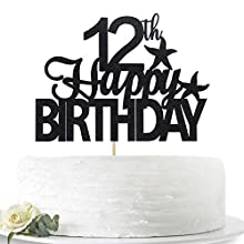 Glitter Black Happy 12th Birthday Cake Topper, Hello 12, Twelve Years Old Party Sign Decorations