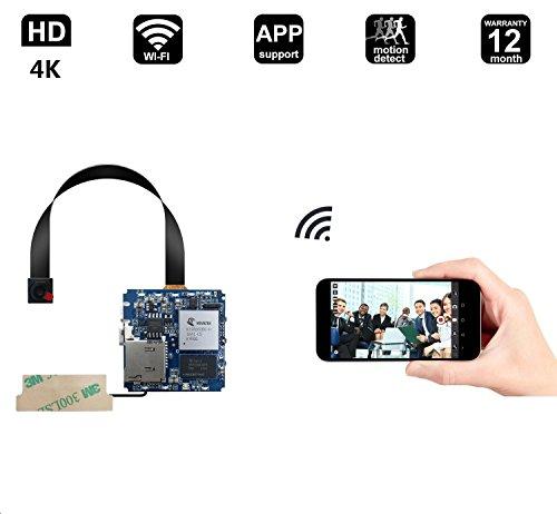 MATECam 4K Camera, Full 1080p HD hidden camera, WIFI Wireless [Motion Detection, DIY camera, Remote App Control] Nanny cam  Home, Kids, Baby, Pet monitoring cam (4K PCBA+ 800mAh battery) (4 800 Mah Mobile)