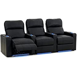 Octane Turbo XL700 Black Bonded Leather with Power Recline (Row of 3 Straight)